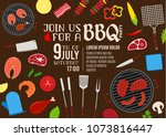 vector barbecue party... | Shutterstock .eps vector #1073816447