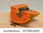 a papaya fruit is cut into... | Shutterstock . vector #1073821655