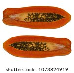 the papaya fruit is cut into... | Shutterstock . vector #1073824919