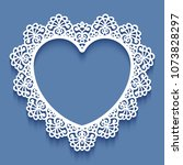 laser cut paper lace frame in... | Shutterstock .eps vector #1073828297