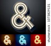 vector neon glowing alphabet...   Shutterstock .eps vector #1073829131