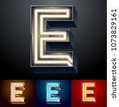 vector neon glowing alphabet... | Shutterstock .eps vector #1073829161