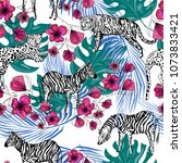 hand drawn exotic animals ... | Shutterstock .eps vector #1073833421