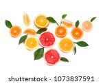 citrus fruits isolated on white ... | Shutterstock . vector #1073837591