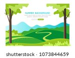 summer landscape background.... | Shutterstock .eps vector #1073844659