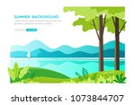 summer landscape background.... | Shutterstock .eps vector #1073844707