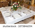 laid the table at restaurant   Shutterstock . vector #1073846354