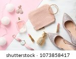 flat lay composition with... | Shutterstock . vector #1073858417