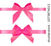 decorative pink bow with ribbon ... | Shutterstock . vector #1073874011