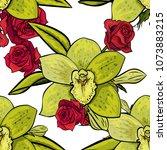 vector seamless flower pattern... | Shutterstock .eps vector #1073883215