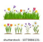 grass and flowers border ... | Shutterstock .eps vector #1073886131