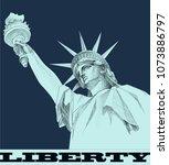 statue of liberty. new york...   Shutterstock .eps vector #1073886797