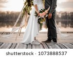stylish newly married couple in ... | Shutterstock . vector #1073888537