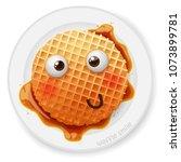 belgium round waffle with... | Shutterstock .eps vector #1073899781