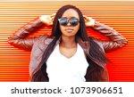pretty african woman in... | Shutterstock . vector #1073906651
