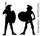 spartan warrior silhouettes on... | Shutterstock .eps vector #1073911031