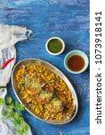 ragda pattice   mumbai street... | Shutterstock . vector #1073918141