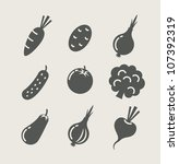 vegetables set of icons vector... | Shutterstock .eps vector #107392319