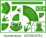 cut and glue the paper frog.... | Shutterstock .eps vector #1073923751