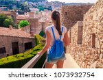 tourist woman in badia bay in... | Shutterstock . vector #1073932754