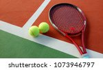 tennis racket with tennis balls ... | Shutterstock . vector #1073946797
