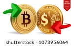 bitcoin to dollar currency... | Shutterstock .eps vector #1073956064