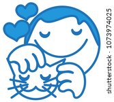 emoji with man petting a... | Shutterstock .eps vector #1073974025