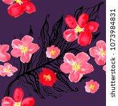 boho pattern. watercolor... | Shutterstock . vector #1073984831