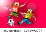 red banner with cartoon soccer... | Shutterstock .eps vector #1073993777