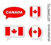 set of canada flag in dialogue... | Shutterstock .eps vector #1073998751