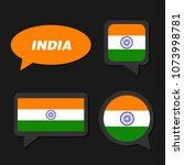 set of india flag in dialogue... | Shutterstock .eps vector #1073998781