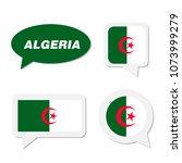 set of algeria flag in dialogue ... | Shutterstock .eps vector #1073999279
