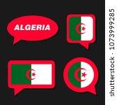 set of algeria flag in dialogue ... | Shutterstock .eps vector #1073999285