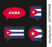 set of cuba flag in dialogue... | Shutterstock .eps vector #1073999309