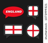 set of england flag in dialogue ... | Shutterstock .eps vector #1073999321