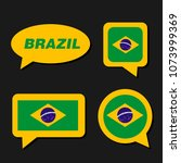 set of brazil flag in dialogue... | Shutterstock .eps vector #1073999369