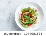 stir fry chicken and vegetables ... | Shutterstock . vector #1074001595