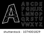 polygonal wire vector lettering ... | Shutterstock .eps vector #1074001829