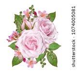 floral background.bouquet ... | Shutterstock . vector #1074005081