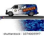 cargo van graphic vector.... | Shutterstock .eps vector #1074005597
