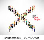 a large group of pixel people... | Shutterstock .eps vector #107400935