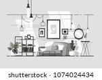 cozy living room. stylish... | Shutterstock .eps vector #1074024434