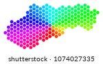hexagon spectrum slovakia map.... | Shutterstock .eps vector #1074027335