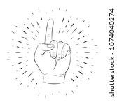 hand gesture  index finger up ... | Shutterstock .eps vector #1074040274