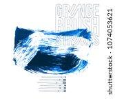 blue brush stroke and texture....   Shutterstock .eps vector #1074053621
