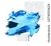 blue brush stroke and texture.... | Shutterstock .eps vector #1074053624