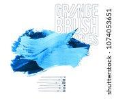 blue brush stroke and texture.... | Shutterstock .eps vector #1074053651