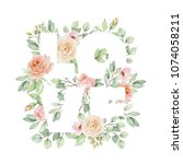 watercolor floral compositions... | Shutterstock . vector #1074058211