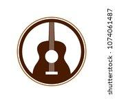 acoustic guitar circle emblem...   Shutterstock .eps vector #1074061487