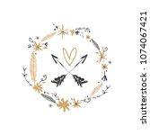 hand drawn boho floral frame... | Shutterstock .eps vector #1074067421